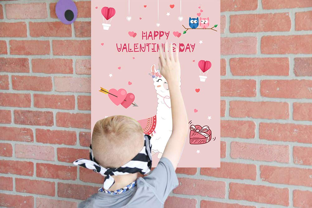 Valentine/'s Day Games for Kids V-Day Classroom School Party Supplies Favors Pin The Hearts on The Llama