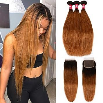 Haha Ombre Brazilian Straight Hair 3 Bundles with Closure 8A Ombre Hair  Bundles With Closure 2 Tone