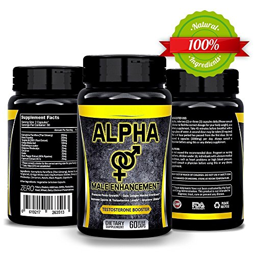Natural ALPHA Male Supplement Pills - Enlargement Booster Increases Energy
