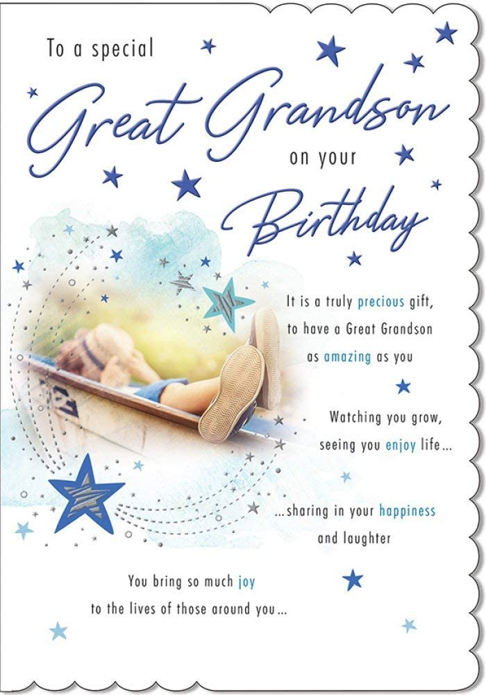 Great Grandson Birthday Card Nice Verse Amazon Co Uk Kitchen Home