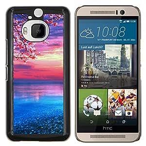 Qstar Arte & diseño plástico duro Fundas Cover Cubre Hard Case Cover para HTC One M9Plus M9+ M9 Plus (flor de cerezo)