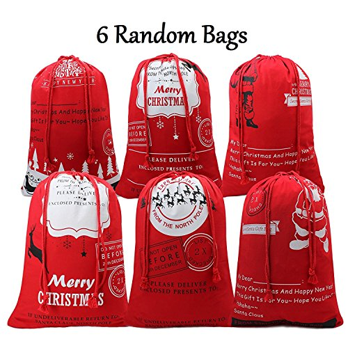 Bonison Holiday Theme Tote Bag, Handle Bag, Sack, Basket for Christmas, Halloween, Easter. Cotton Canvas, Tough and Durable, Perfect for Carry Gifts, Candies, Decoration (christmas bag 6pcs)