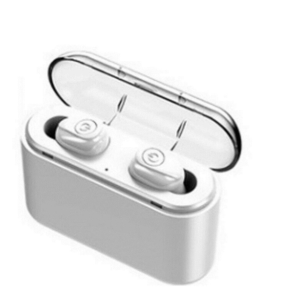 Cathery Portable Wireless Headphones Bluetooth V5.0 Earbuds Earphones for iPhone, Samsung, Android, iOS (White, One Size)