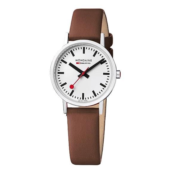 Mondaine Classic 36 mm - Reloj análogico de cuarzo con correa de cuero unisex, color marrón/gris: Amazon.es: Relojes