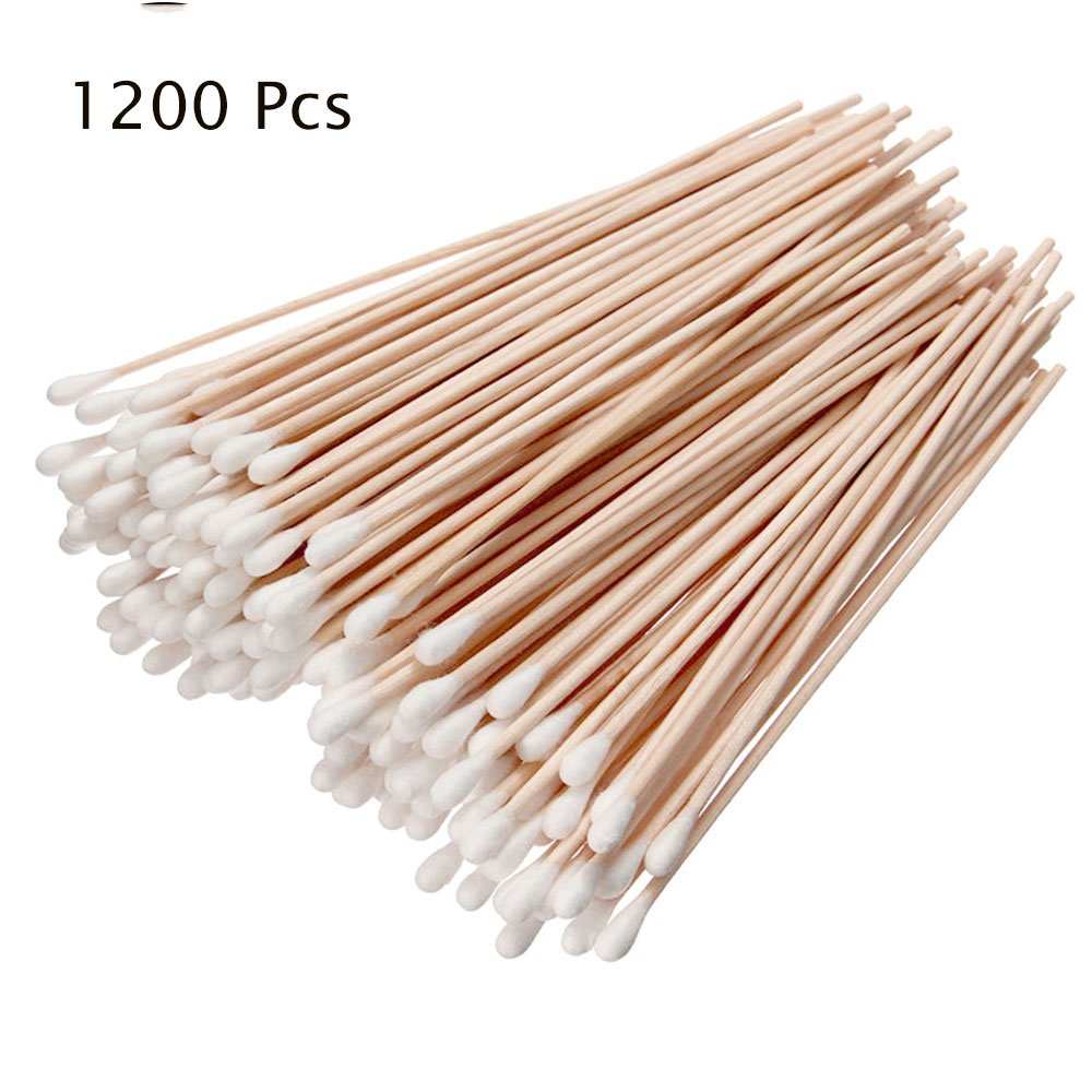 Iebeauty?12 Packs Cotton Swabs Swab Applicator Q-tip 100 Pieces 6 EXTRA LONG Wood Handle STURDY!