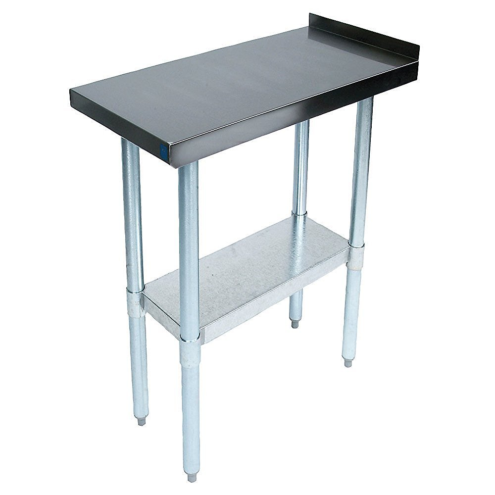John Boos EFT8-3018 Stainless Steel 430 Riser Top Filler Table, 1.5'' Turn Up with Adjustable Undershelf, 18'' Length x 30'' Width