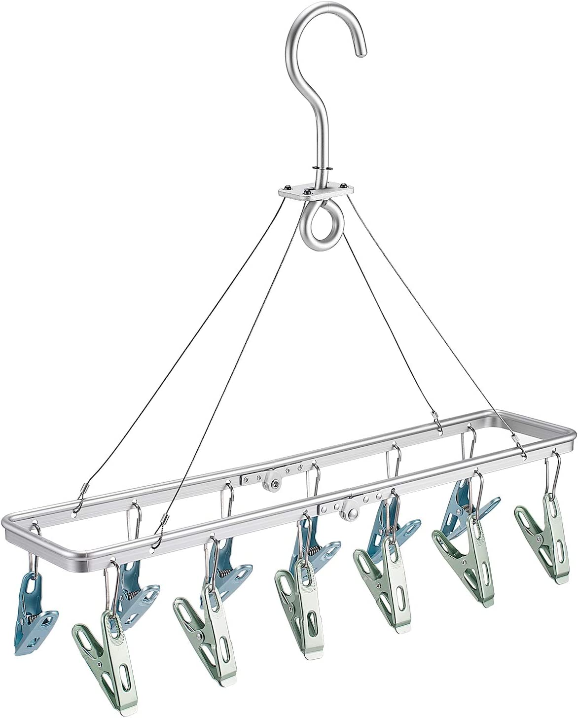 Senbowe Foldable Clip and Drip Hanger, Clothes Hanging Drying Rack Sock Hanger Underwear Hanger with 12 Clips, Hanger for Towels, Bras, Baby Clothes, Gloves, Aluminium Alloy Laundry Hanging Air Dryer