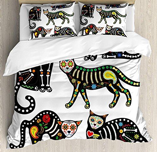 Duvet Cover Set Sugar Skull Decor Calavera Ornate Black Cats in Mexican Style Holiday The Day of The Dead Ultra Soft Breathable Durable Twill Plush 4 Pcs Bedding Sets for Kids/Teens/Adults Twin Size by BABE MAPS