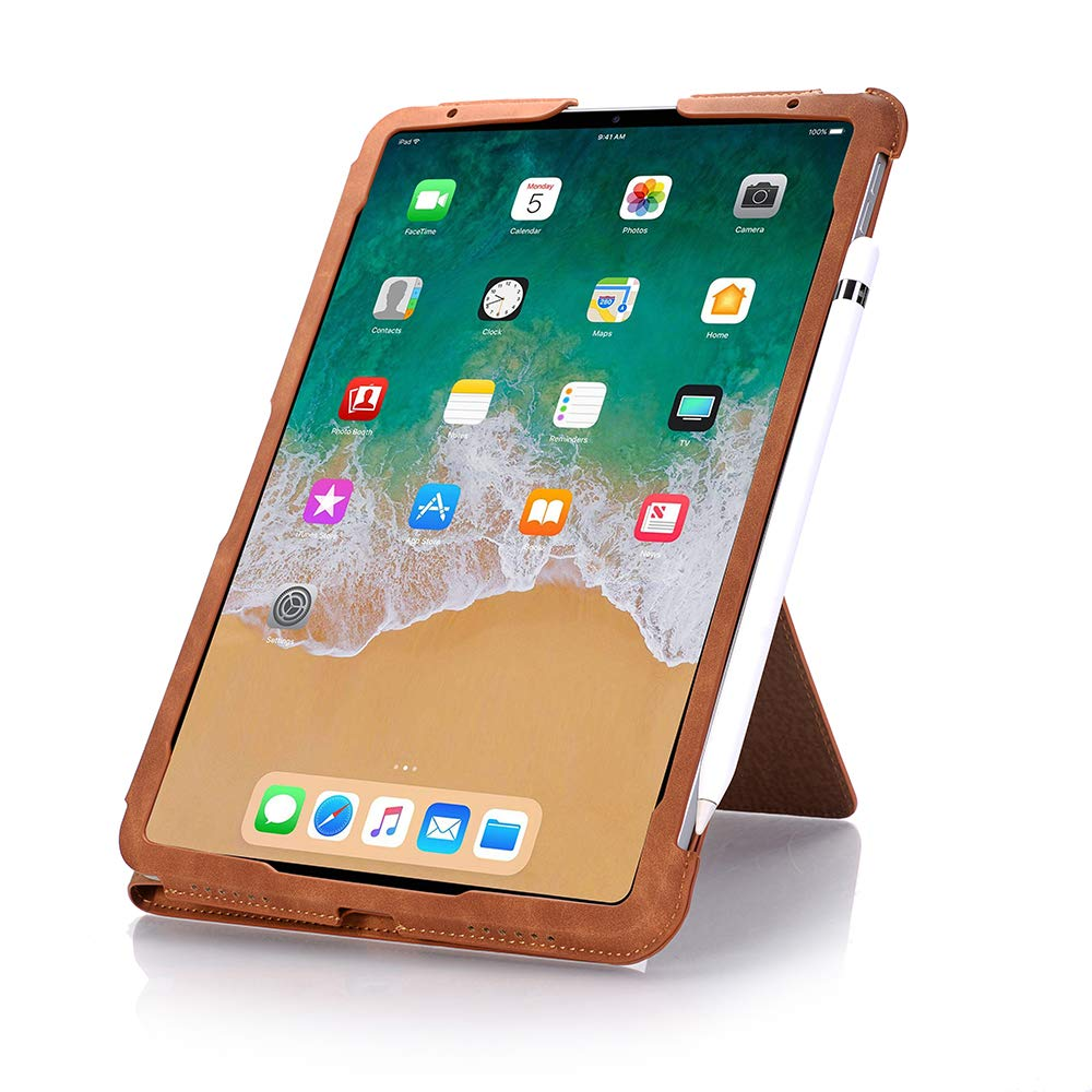 iPad Pro 11 Cover 2018, YiMiky PU Leather Case with Pencil Holder Smart Stand [Support Apple Pencil Charging] Slim Fit Cover Card Holder Protective Case for iPad Pro 11 Inch 2018 - Light Brown