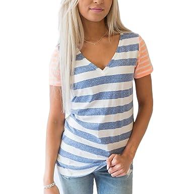 ZFFde Camiseta de mujer Short Top Camisetas de rayas blancas y negras para mujer Camisetas de