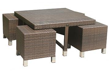 Amazon De Tisch Set Mirabelle Gartentisch Unterschiebare Hocker