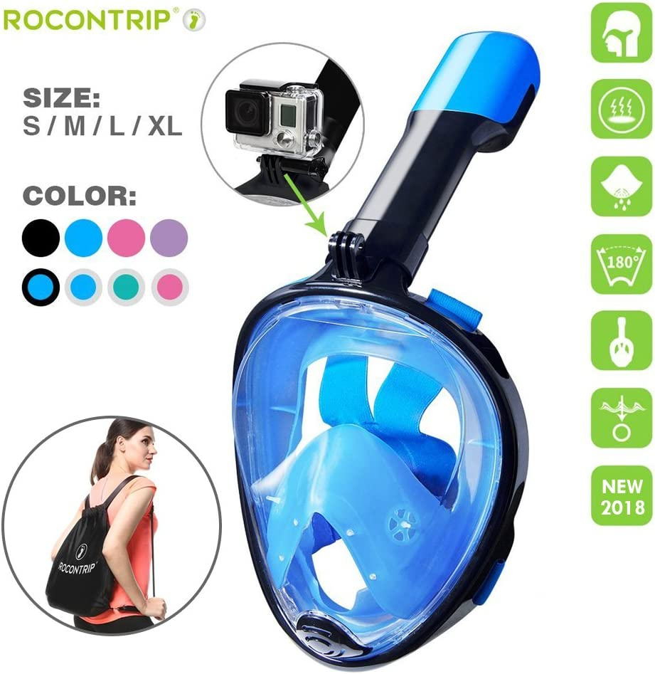 COSVII Snorkel Mask Full Face Diving Mask with 180/° Panoramic View /& Detachable Camera Mount Anti Fog /& Anti Leak Snorkeling Mask with Adjustable Head Straps for Adults