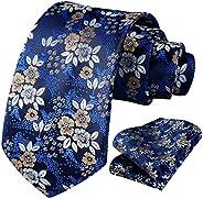 HISDERN Floral Tie for Men Handkerchief Woven Classic Flower Men's Necktie & Pocket Sq