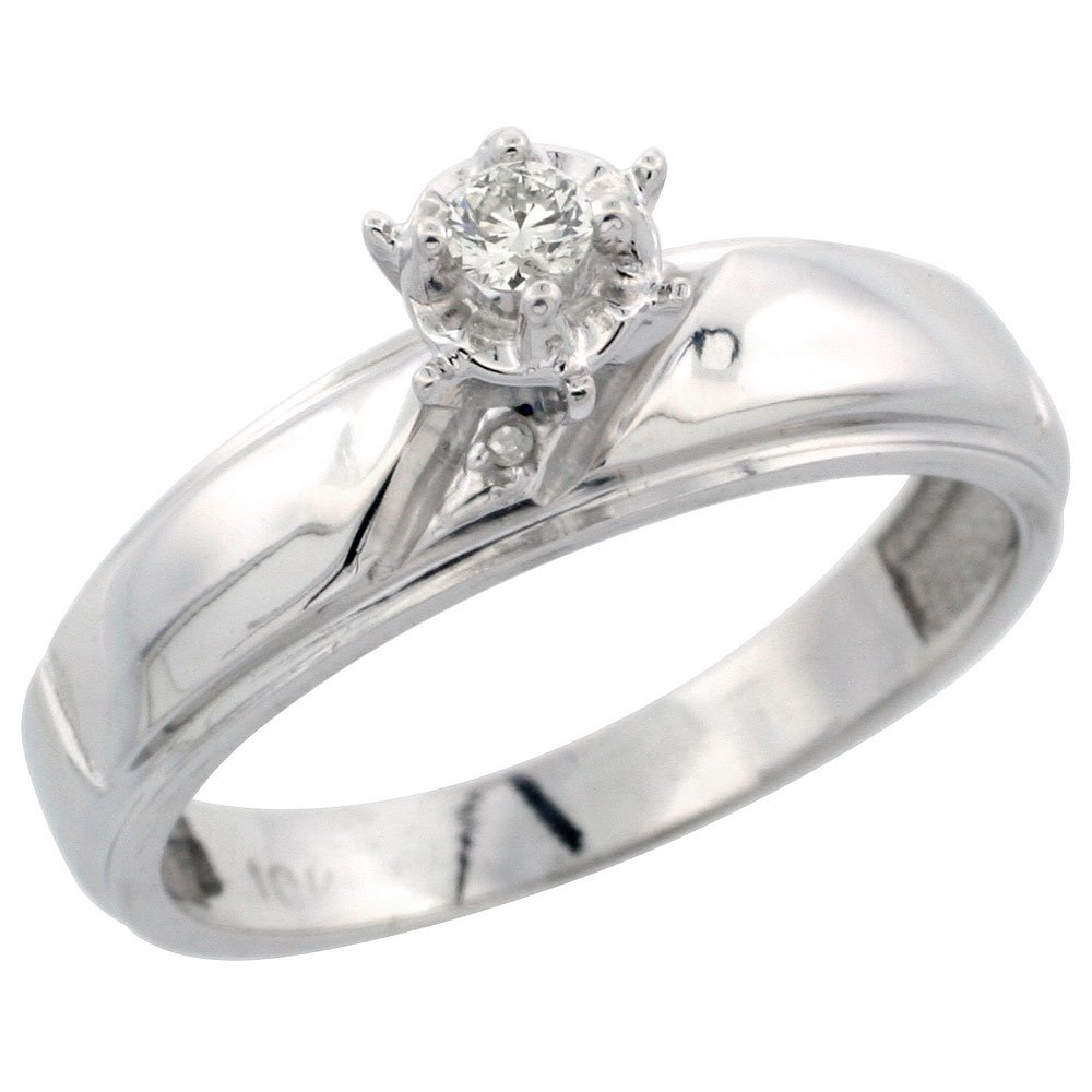 Sterling Silver Diamond Engagement Ring wide 5.5mm 7//32 in. Size 10 w// 0.04 Carat Brilliant Cut Diamonds