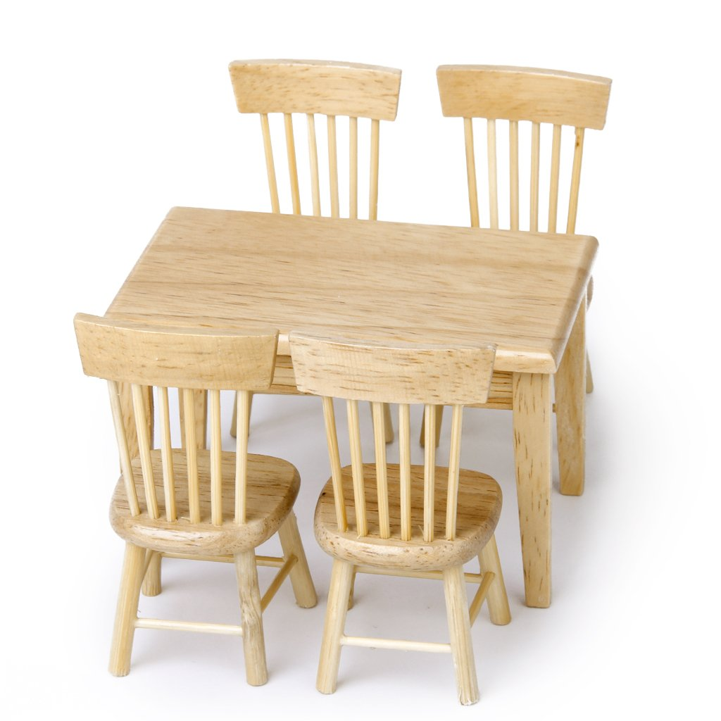 MagiDeal Miniatur Holz Küchenmöbel, Esstisch, Stühle Set für 1/12 ...