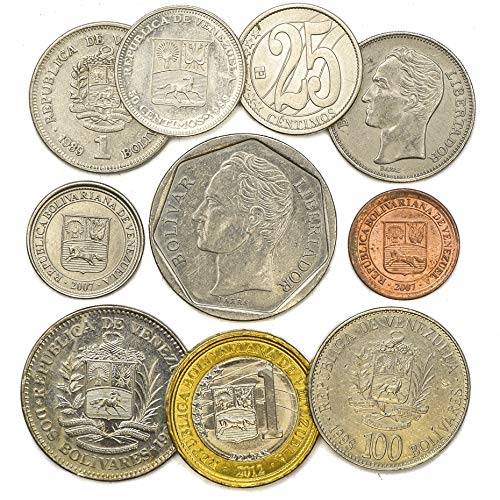 10 Coins from Bolivarian Republic of Venezuela. South American Old Collectible Coins Centimos, Bolivares. Perfect Choice for Your Coin Bank, Coin Holders and Coin Album