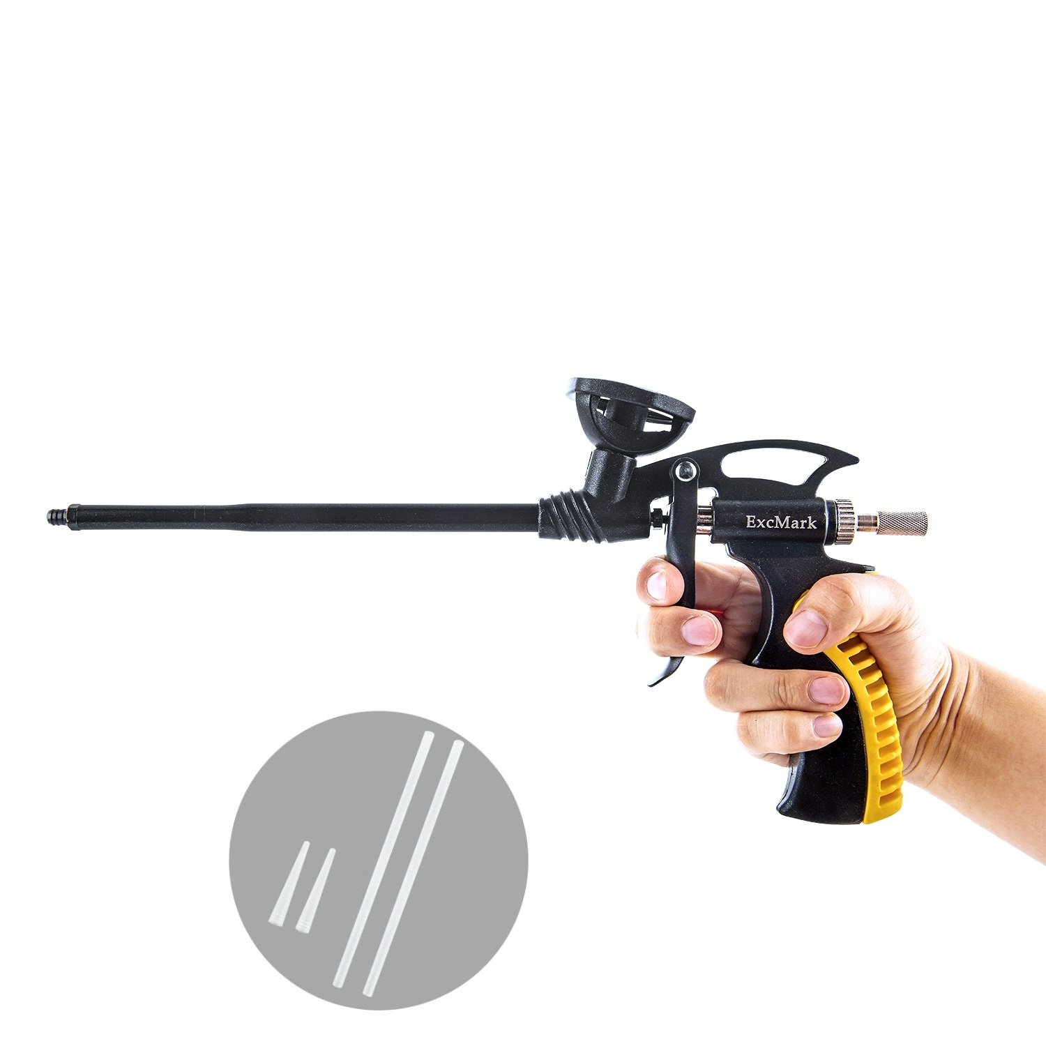 ExcMark Foam Gun, Foam Dispensing Gun, PU Expanding Foaming Gun, Caulking Gun Metal Body Pro Heavy Duty Grade Expanding Spray Application Applicator for Caulking, Filling, Sealing, Home School Office