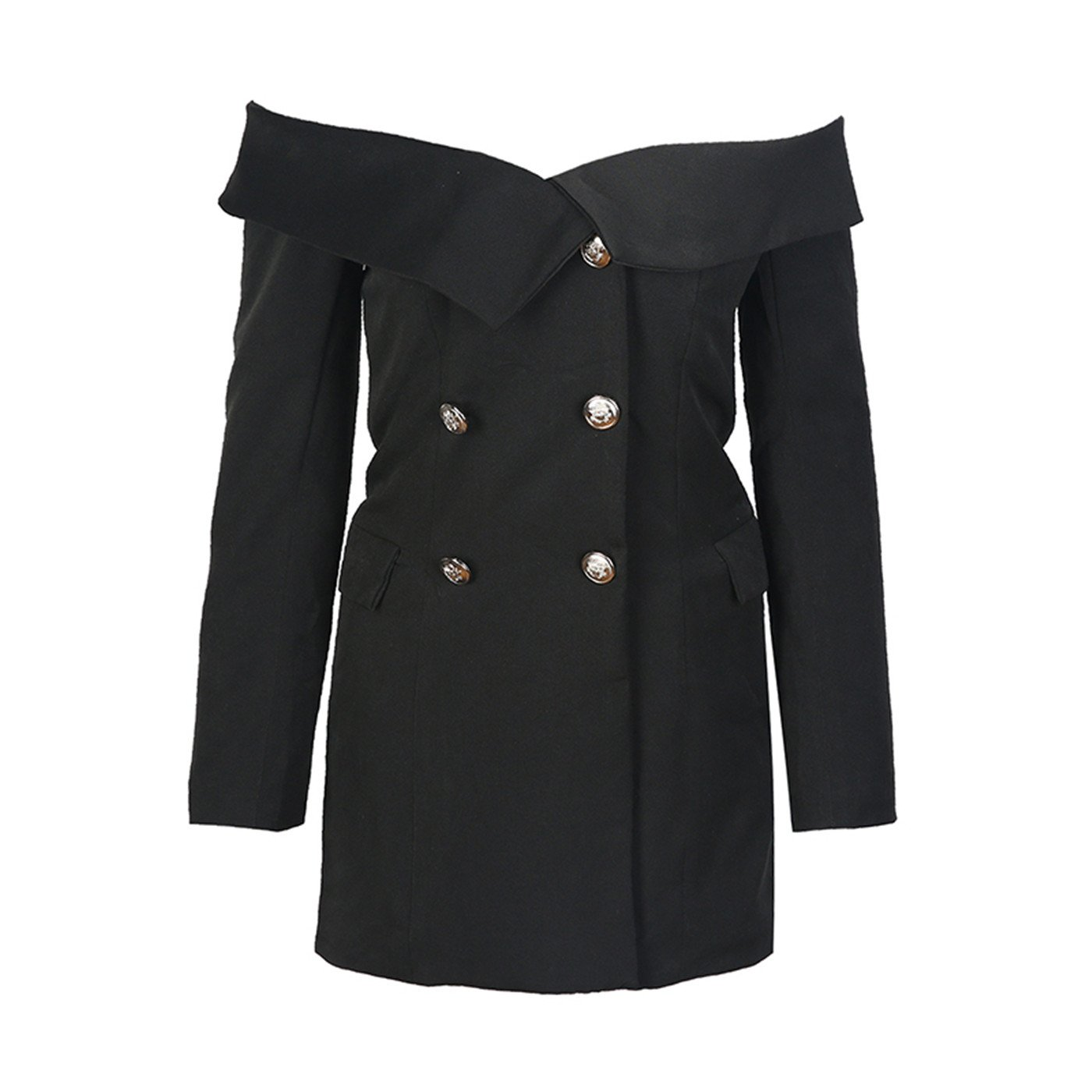 38e6552a06d7 Sexy Off The Shoulder Foldover Double Breasted Blazer Jacket Coat Suit Top  Black 2XL at Amazon Women's Clothing store: