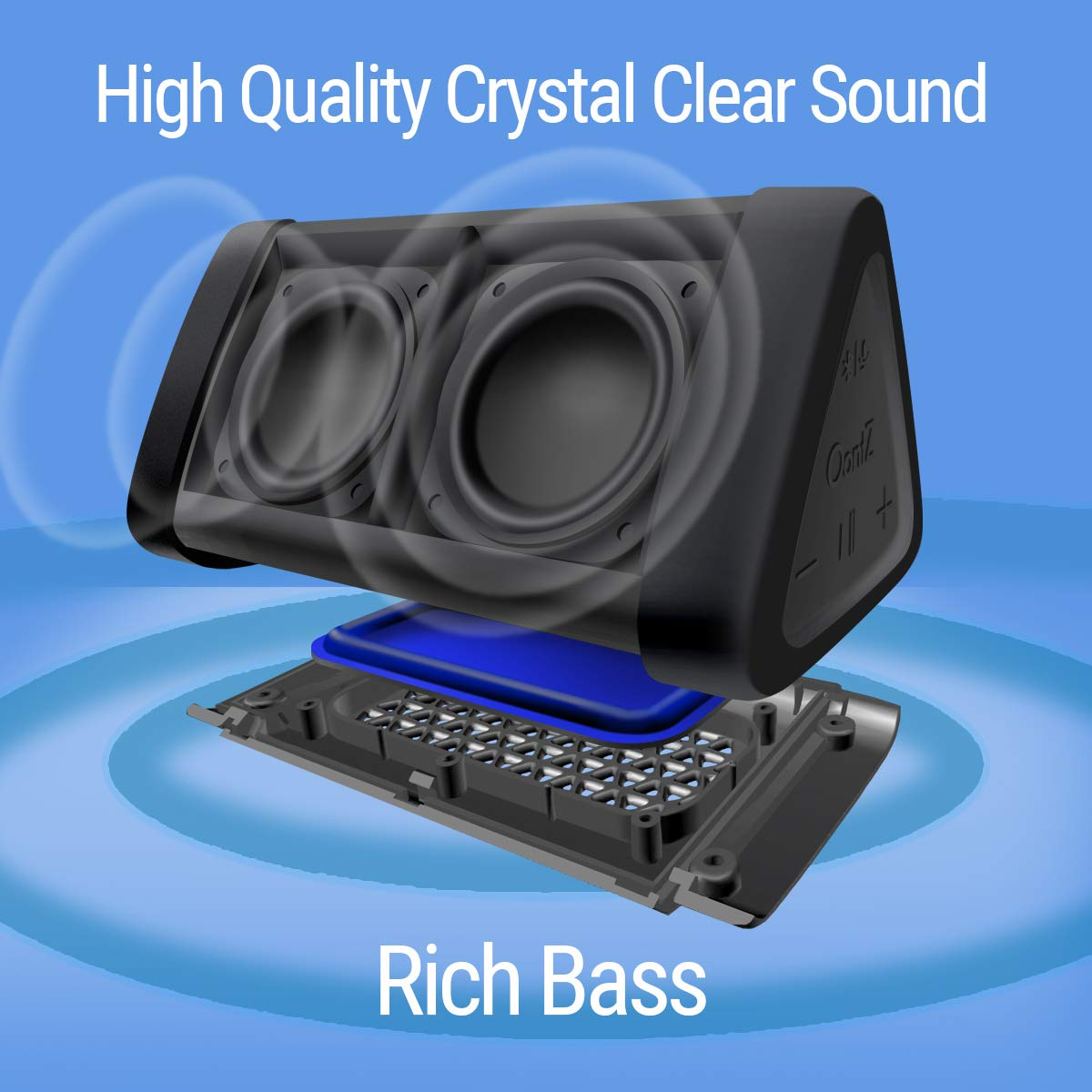 OontZ Angle 3 (3rd Gen) Portable Bluetooth Speaker, Louder Crystal Clear Stereo Sound, Rich Bass, 100 Ft Wireless Speaker Range, IPX5, Bluetooth Speakers by Cambridge SoundWorks (Orange) by Cambridge Soundworks (Image #5)