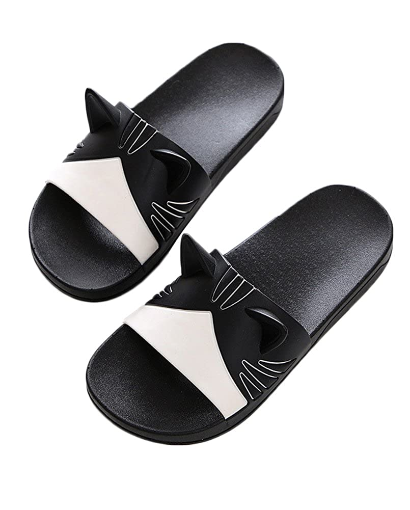 Minetom Casual Unisex Couple Womens Mens Teen Slippers Beach Sandals Home Flat  Shoes Wear Indoor Outdoor Cat Decoration Shower Bathing Black UK 3.5: ...
