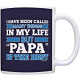 Fathers Day Gifts for Grandpa Called Many Things But Papa is the Best Gift Coffee Mug Tea Cup Blue