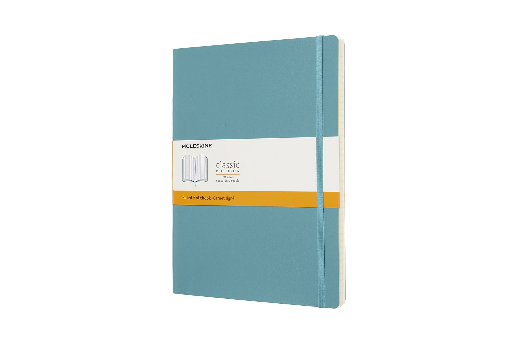 Moleskine Classic Soft Cover Notebook, Ruled, XL (7.5'' x 9.75'') Reef Blue - Soft Cover Notebook for Writing, Sketching, Journals