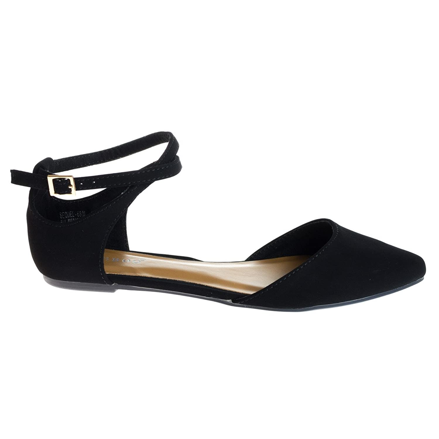Almond Toe Flat w Side Chop Out D'Orsay & Double Loop Buckle Strap