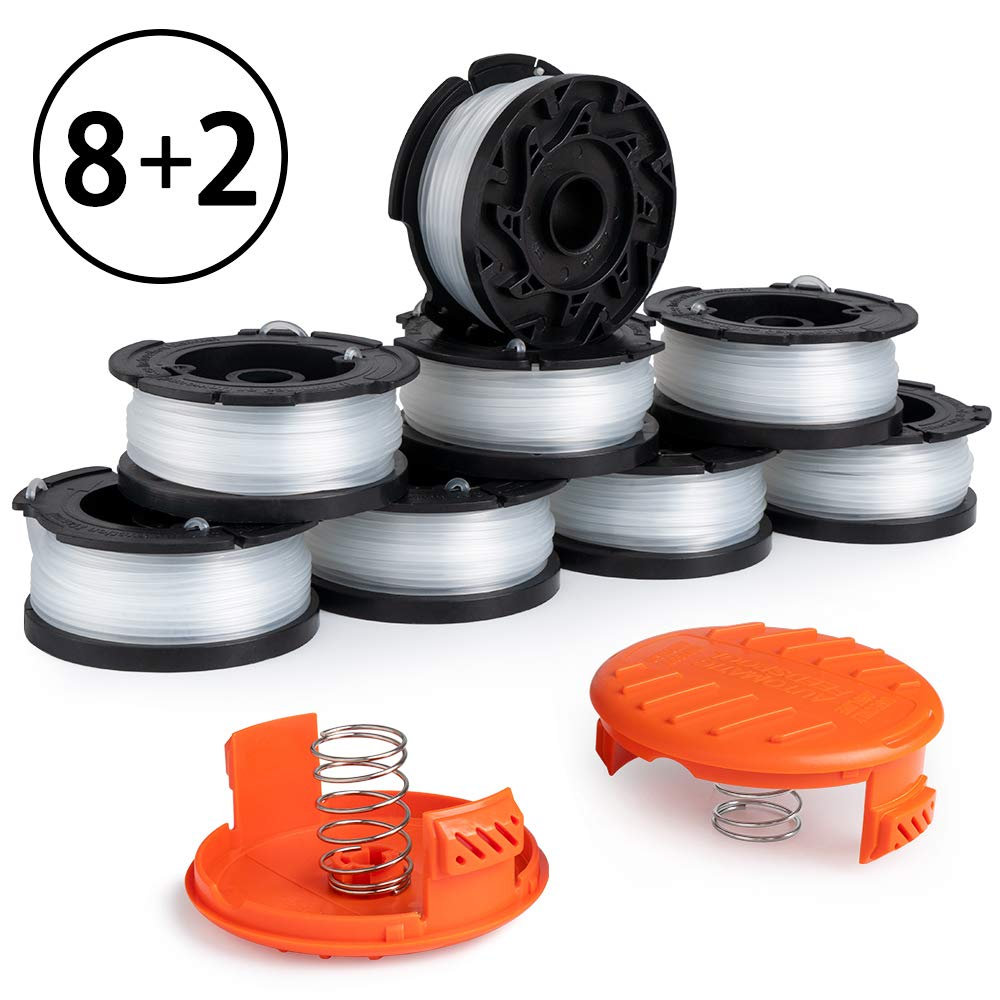 X Home Weed Eater Spools Compatible with Black Decker AF-100 LST420 GH900 String Trimmer, 30ft 0.065 inch Edger Replacement Spools Line Refills Parts, RC-100-P Spools Cap (8 Spools, 2 Caps, 2 Springs)