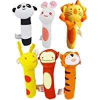 6PCS HOT Soft Sound Animal Handbells plush Squeeze Rattle For Newborn Baby Toys Gift
