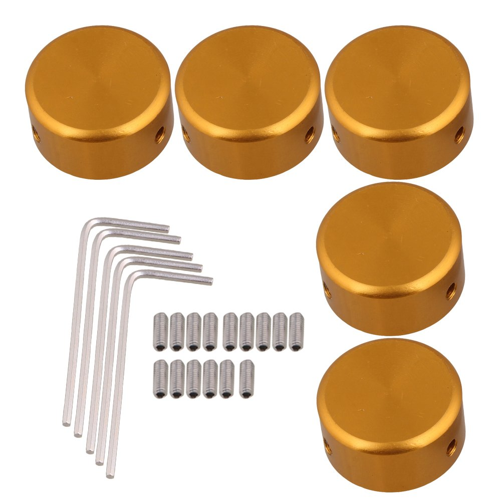 BQLZR Golden Aluminum Alloy Guitar Effects Parts Stomp Switch Pedal Box Foot Metal Pack of 10 BQLZR Guitar Effects cap