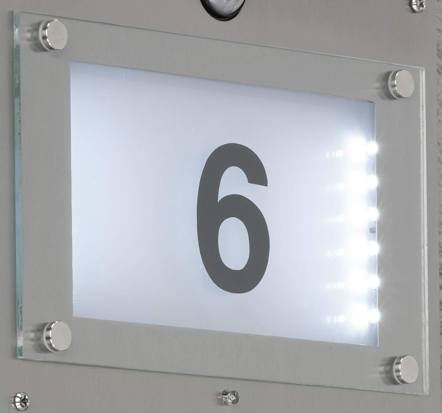 14.7 W Metall E27 Edelstahl Geb/ürstet Roh 12.5 x 22 x 32 cm WOFI Hausnummernleuchte
