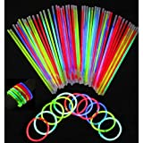 HK Balloons 100 Glow in The Dark Sticks Bands Bracelets (Assorted Colours)