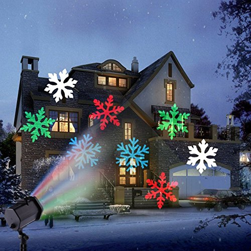 Christmas LED Projector Light, 12 Replaceable Slides IP65 Waterproof Landscape Motion Projector Lights Outdoor Indoor for Xmas Valentine's Day St. Patrick's Easter Birthday Party