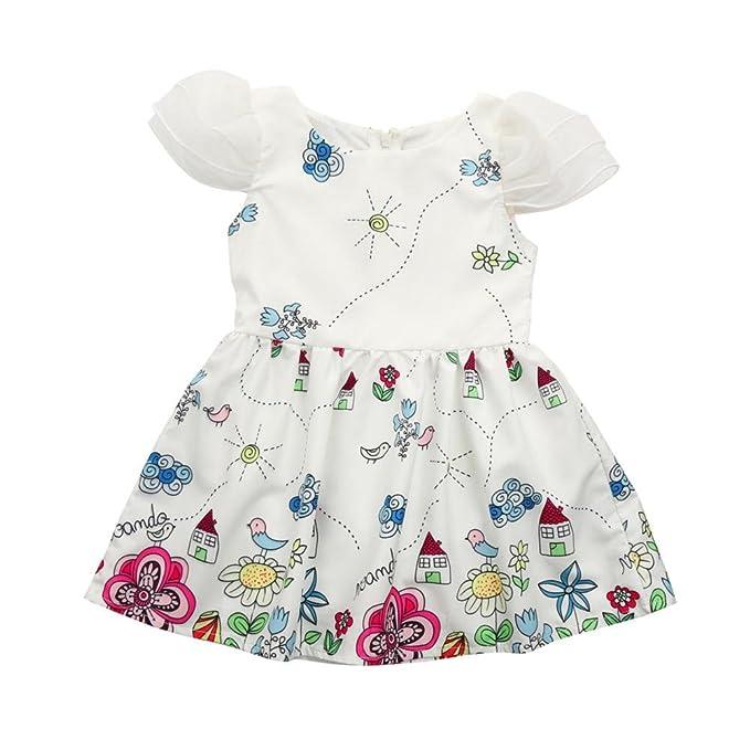 QUICKLYLY Vestido Sin Mangas Primavera Verano para Bebé Niñas Algodón Princesa Impresión Vestir de Fiesta (