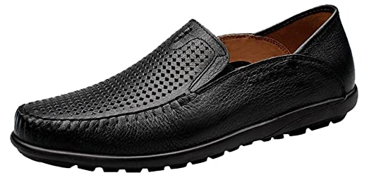9905 Mens Casual Leather Slip On Loafer Flats Leisure Breathable Holes Driving Sneakers With Soft Sole