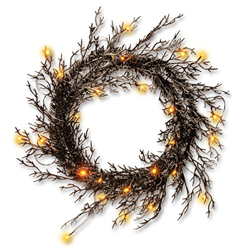 National Tree 26 Inch Black Glittered Halloween Wreath with 25 Warm White Battery-Operated LED Lights (RAH-15561W26L)