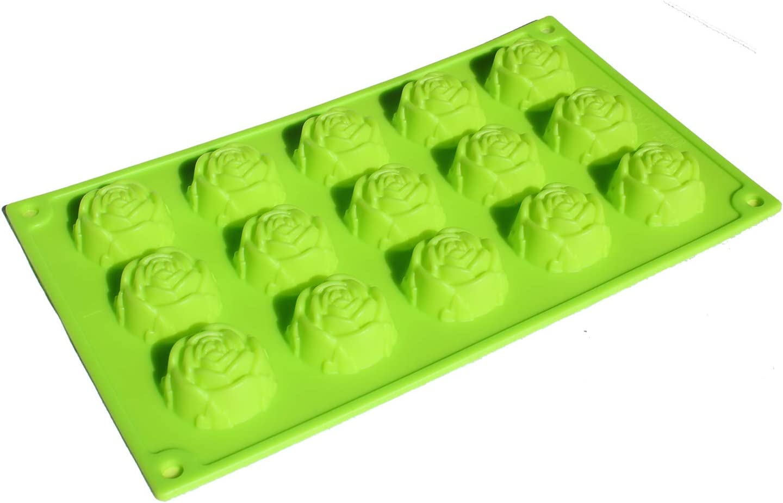 X-Haibei Romantic Rose Silicone Flower Mold Chocolate Jello Gelatin Pan Soapmaking