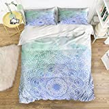 Picture It On Canvas Family Comfort Bed Sheet Blue Flower Ink 4 Piece Bedding Sets Polyester Duvet Cover HypoallergenicOversized Bedspread,Queen Size