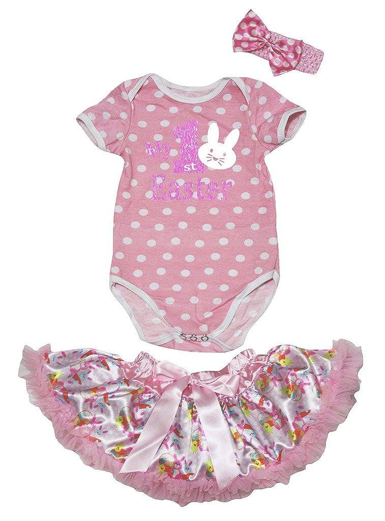 Petitebella My 1st Easter Pink White Dots Romper Easter Rabbits Tutu Nb-12m