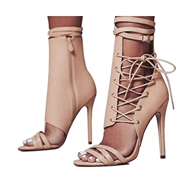 e38234abc37 azmodo Women Shoes Sexy Gladiator Lace up Peep Toe Women Sandals High Heels