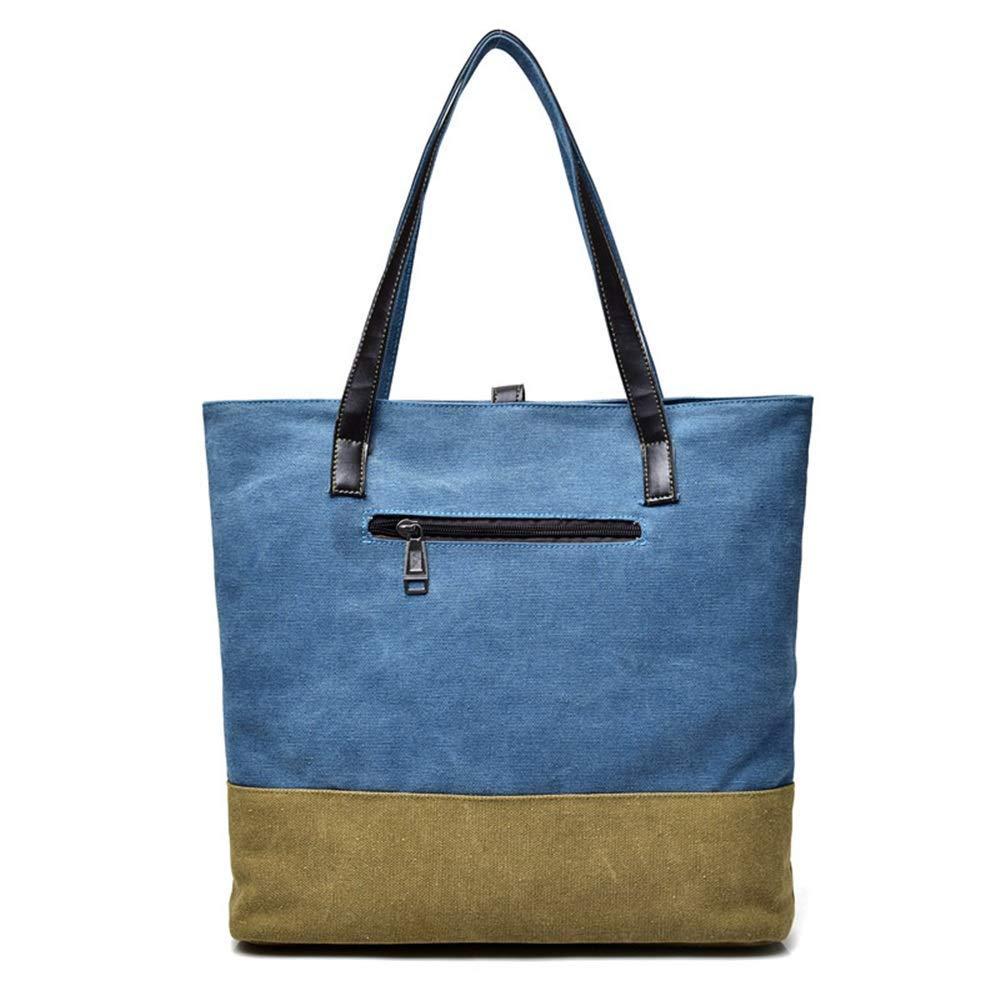 WHXYAA Canvas Bag Shoulder Bag Tote Bag Ladies Large-Capacity Shopping Bag Blue Simple Atmosphere
