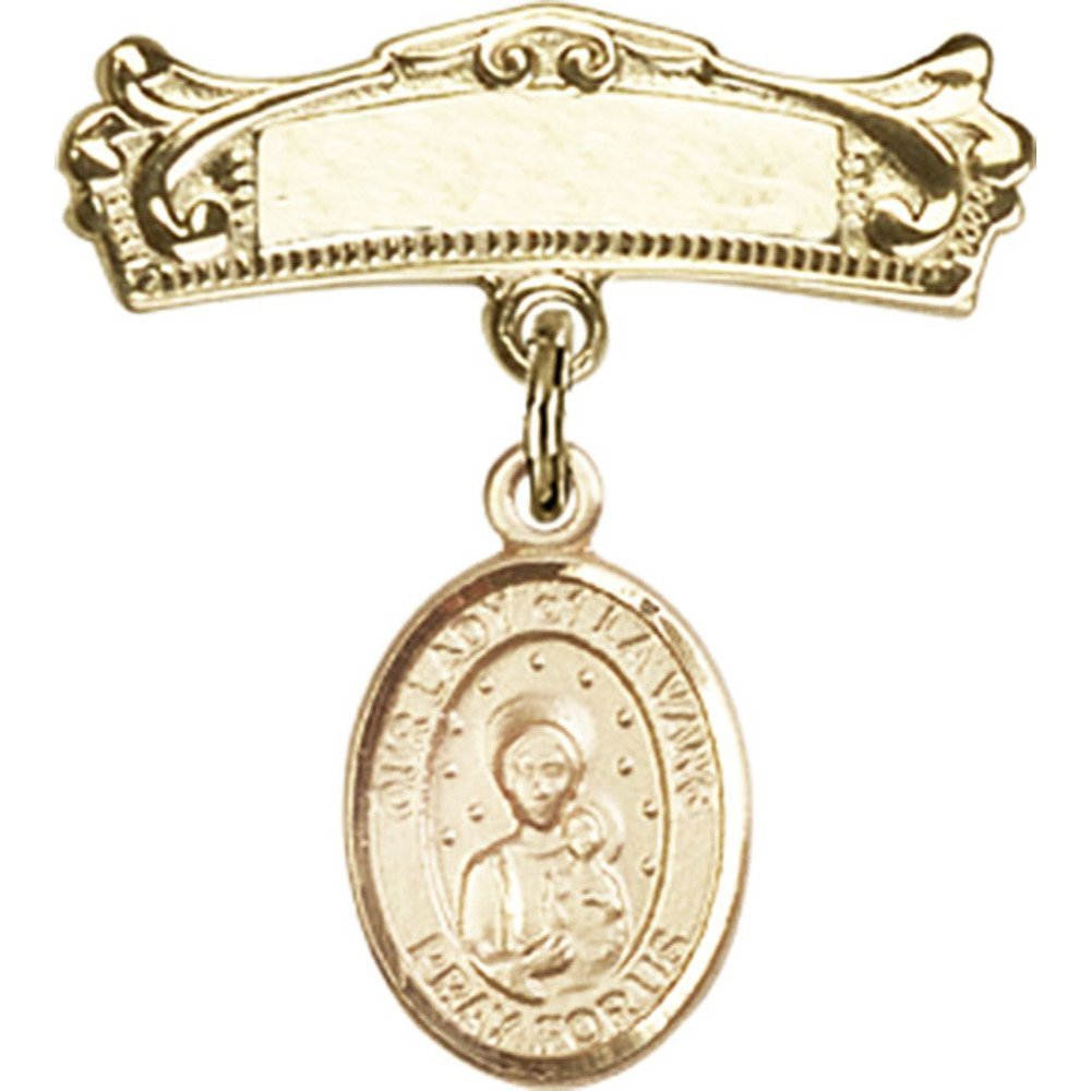 ゴールドFilled Babyバッジwith our Lady of La Vangチャームとアーチ型光沢バッジピン7 / 8 x 3 / 4インチ   B00PQ80H72