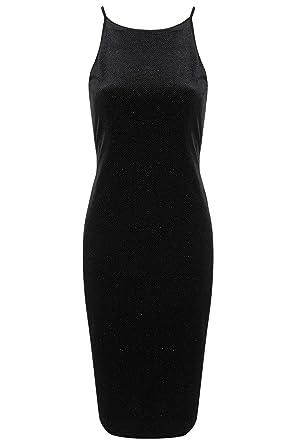 TOPSHOP Velvet Glitter Bodycon Midi Dress Evening Date Party Sexy Black UK 10