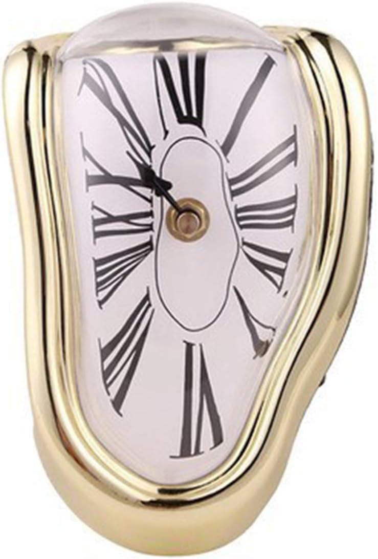 Rehomy Reloj de fusión de mesa de escritorio reloj de moda decoración casera regalo en forma de L de oro