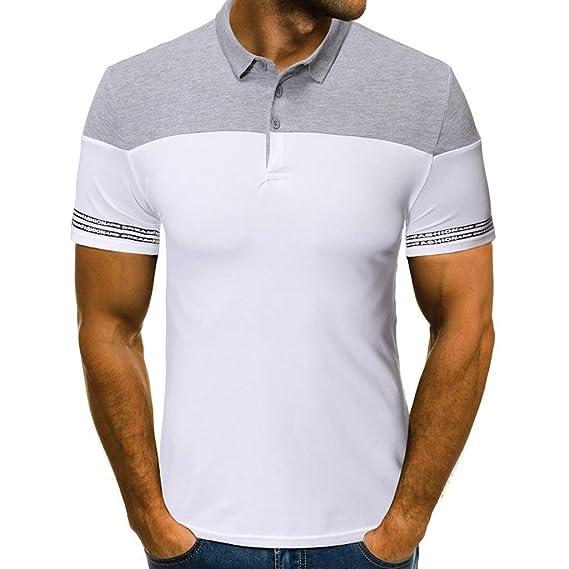 beautyjourney Camisa Polo de Manga Corta para Hombre con Cuello ...