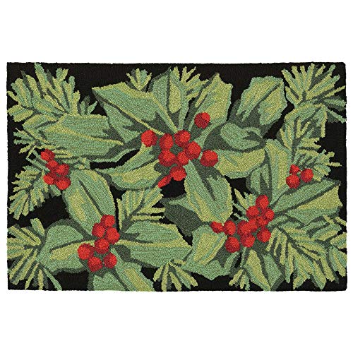 Liora Manne Holly Berries Indoor/Outdoor Rug, 2' X 3', Black