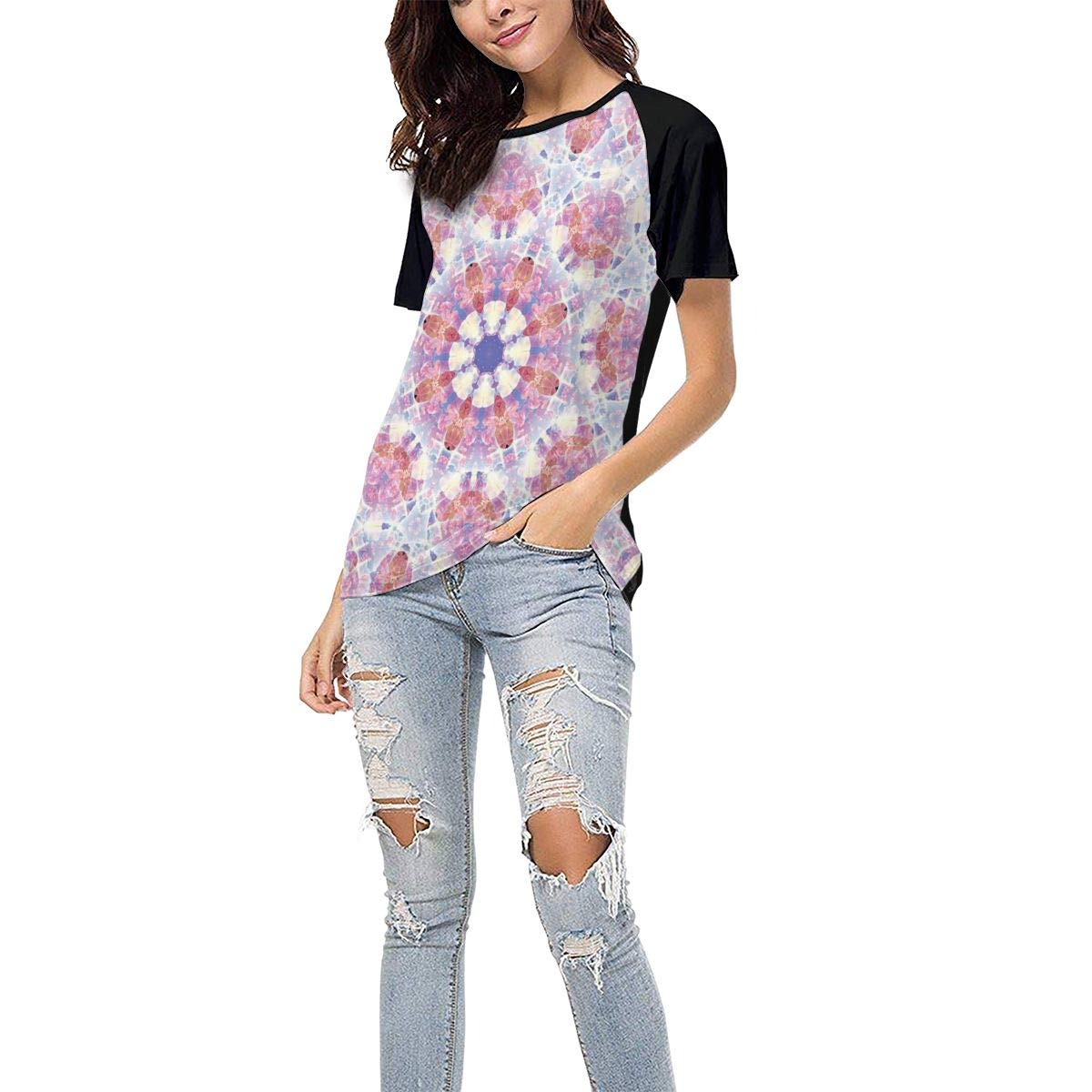 Pink Kaleidoscope Casual Raglan Tee Baseball Tshirts Tops Blouse Laki-co Womens Summer Short Sleeve