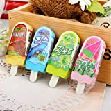 Mix multicolored kawaii cute Popsicle ice cream Shape stationery erasers for kids School student school supplies (12 pcs/set)