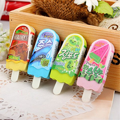 Popsicle Eraser - Mix multicolored kawaii cute Popsicle ice cream Shape stationery erasers for kids School student school supplies (6 pcs/set)