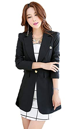 6b6abc8cabee7 Women s Slim Fit Office Business Blazer One Button Jacket My Wonderful  World at Amazon Women s Clothing store
